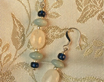 Rainbow Moonstone and Amazonite Earrings