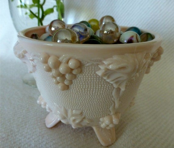 PRETTY in Pink Milk Glass Candy Dish 1950's