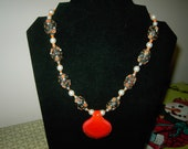 Large Orange glass pendant with greenish  brown beads with pearls handmade necklace