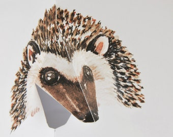 Hedgehog 3D Pop up Card - Watercolour print - Hand cut and folded by Squish-n-Chips