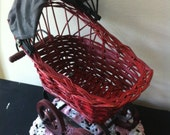 Vintage Red Wicker & Wood Doll Baby Carriage.