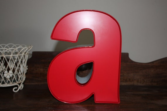 """Letter """"a"""" - Red Face - White letter can"""