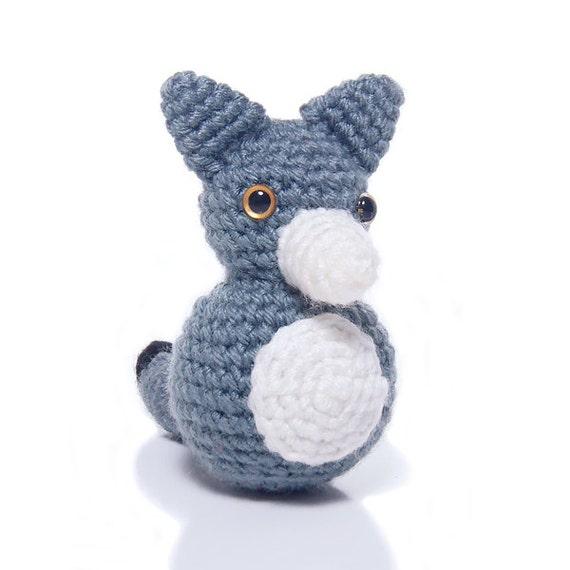 Amigurumi Grey Wolf Crochet Doll, Ready to Ship