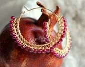 FREE Shipping,  Gypsy Earrings, Garnet Earrings, Crochet Hoop Earrings, Gold filled 14K, Hoops, Semi Precious Stone Earrings