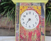 Upcycled Handpainted Cottage shabby Chic Clock