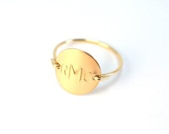 Gold Monogram Ring