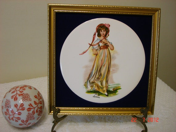 Girl In Pink Picture - Victorian Wall Hanging - Small Vintage Girl Picture - Gold Framed Picture