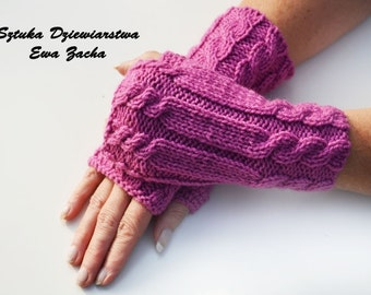 Violet Fingerless Mittens , fingerless gloves  in handmade-warmers