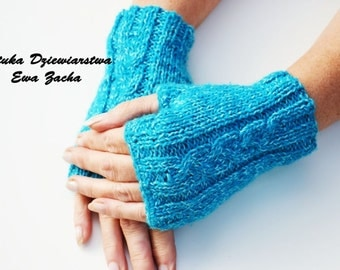 Blue Fingerless Mittens in handmade-warmers , fingerless gloves , glove