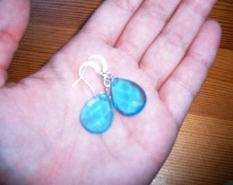 aqua raindrop earrings