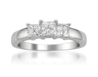 Platinum Princess-cut Three-Stone Diamond Engagement Ring (1 cttw, H-I, SI1-SI2)