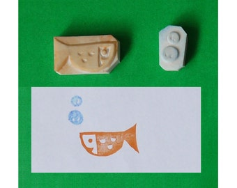 Small Fish Hand Carved Rubber Stamp n Bubbles handmade stamp, set of 2 - handcarved rubber stamp, hand carved stamp, handcarved stamp