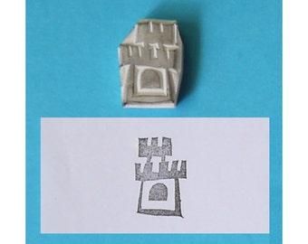 Castle Hand carved Rubber Stamp - handmade rubber stamp, handcarved rubber stamp, hand carved stamp, handmade stamp, handcarved stamp