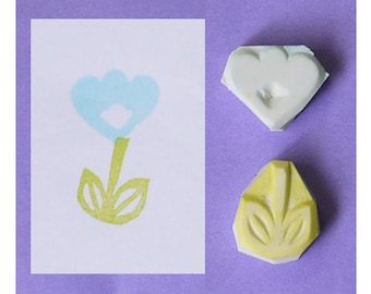 Flower Hand Carved Rubber Stamp, set of 2 - leaf hand carved stamp, plant handmade stamp, spring handcarved stamp, gardening stamp