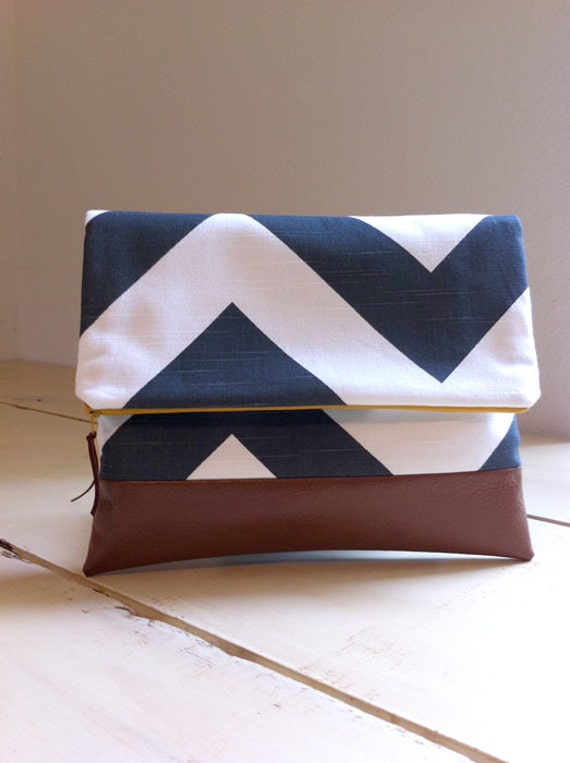 Fold Over Clutch in Charcoal & White Chevron