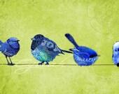 Blue Birds Perched on a Wire Green Canvas Wall Art Home Decor Print by Cyrrah Gunia