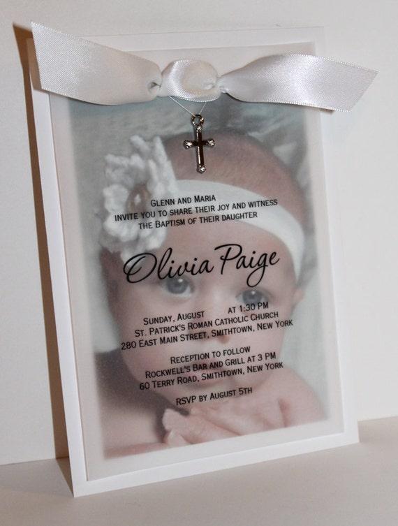 Olivia - Baby Photo Baptism Invitation