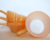 Peach Anchor Hocking Fire King Luster Ware Soup Bowls with Handles