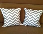 Set of Grey Chevron Pillows - Two Chevron Pillows - Grey Pillows