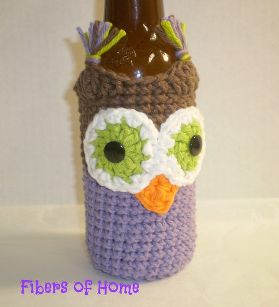 Long Neck Beer Bottle Cozy - Water Bottle Cozy - Brown and Purple Owl -- Hand Crafted