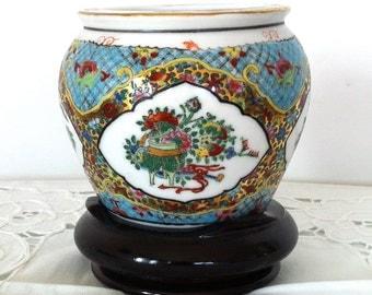 Vintage Hand Painted Blue Porcelain Pot