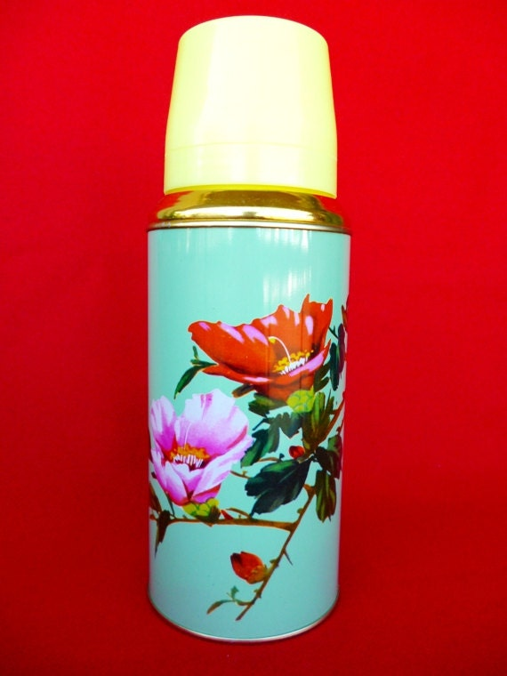 Vintage Thermos - Coffee Thermos - Cup Thermos - Flower Thermos - Picnic Thermos - Tea Thermos - Travel Thermos 20oz/0.62lt SUNFLOWER  Nr34