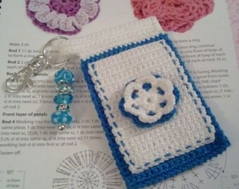 "Teal and White ""Bloomer"" Crochet Case with Beaded Keychain for iPod, Camera, Cell Phone, MP3 Player"