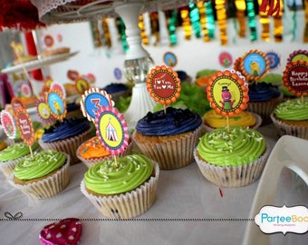 Customized Party Cupcake Toppers (Barney Theme) x 24 pcs