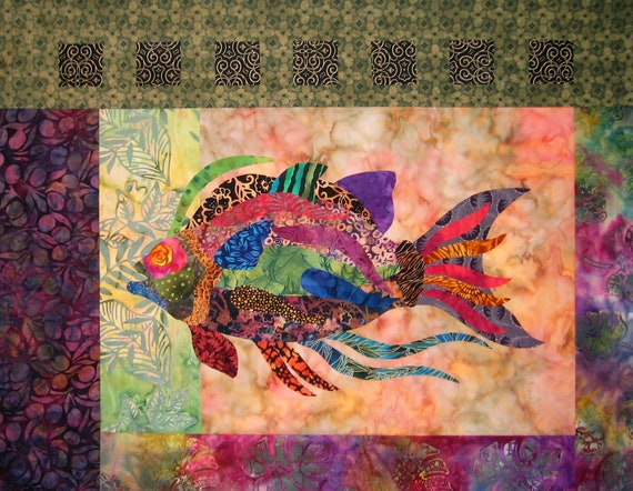 Tuscany Tile Fish Raw Edge Applique And Pieced Wall Quilt