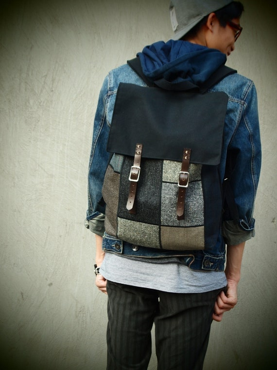 Canvas and Wool Patchwork Rucksack