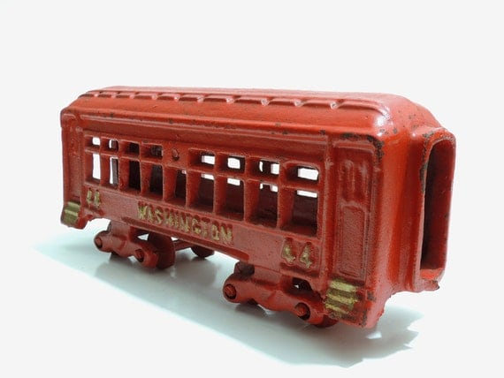 Nycrr Cast Iron Train: Cast Iron Train Car No. 44 Washington Red
