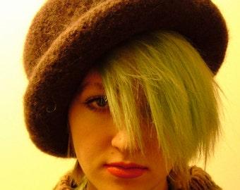 Bowler -- Dark Brown Rolled Brim Felted Hat