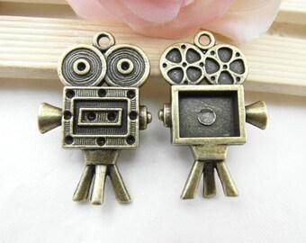 5pcs Antique Brass Video Camera Charm Pendant 25x40mm