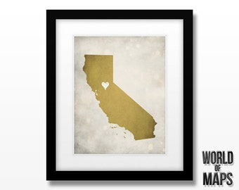 California Map Print - Home Town Love - Personalized Art Print