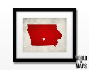 Iowa Map Print - Home Town Love - Personalized Art Print