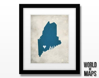 Maine Map Print - Home Town Love - Personalized Art Print