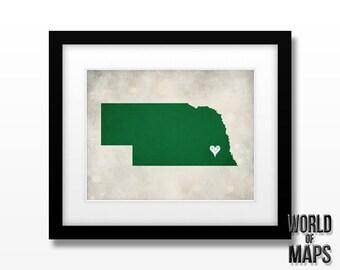 Nebraska State Map Print - Home Town Love - Personalized Art Print