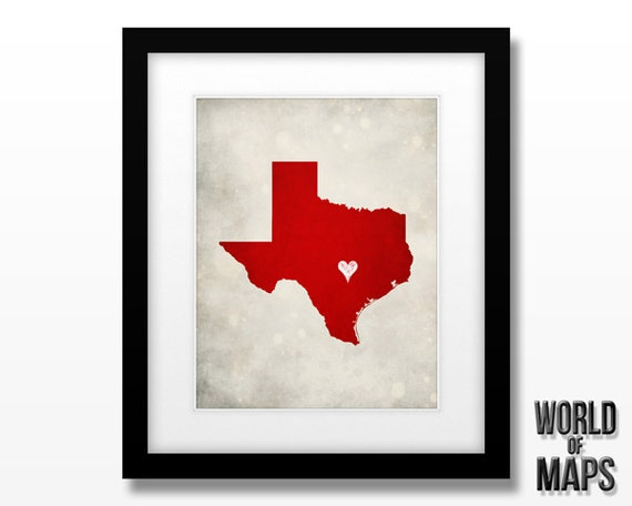 Texas Map Print - Home Town Love - Personalized Art Print