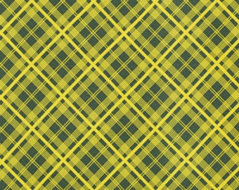 CLEARANCE Denyse Schmidt fabric Simple Plaid in Lime, 1 yard Chicopee