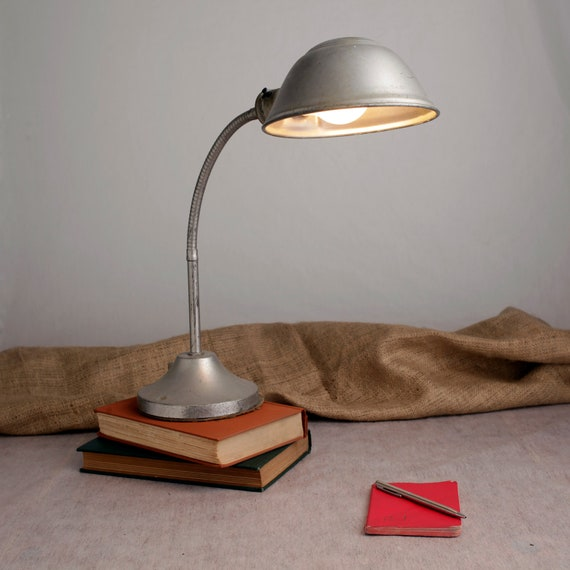 Silver Gooseneck Industrial Desk Lamp