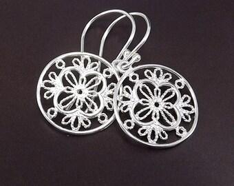 Sterling Silver Earrings with Round Filigree Flower Earrings