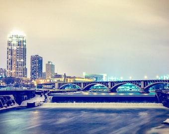 Winter Spillway - Minneapolis, MN - Minneapolis Skyline Photography