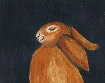 ACEO- Original Painting-Live Simply Bunny- By the Artist