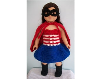 "Crochet Pattern - Superhero Costume for American Girl or other 18"" Doll - Halloween or Dress Up"