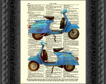 Blue Moped Art on Antique Book Page, Blue Scooter Art Print, Upcycled Scooter Art