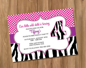 Pink and Purple Zebra Birthday Party Invitation (Digital - DIY)