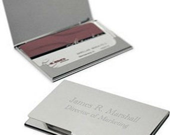 Personalized Plain Metal Business Card Holder - Free Engraving