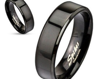 Personalized Stainless Flat Edge Black Ring - Free Engraving