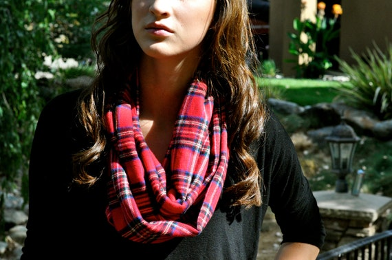 Medium Red Flannel Infinity Scarf