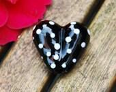 Black heart with white dots handmade lampwork bead 32 mm